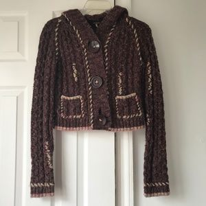 Free People Chunky Cable Knit Crop Hoodie Cardigan